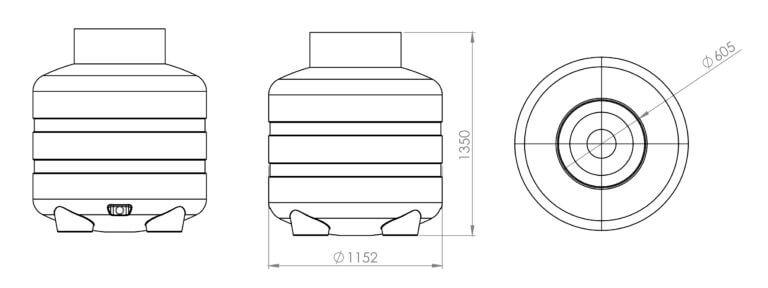 Wymiary zbiornika EcoLeader Z/ZN-1000